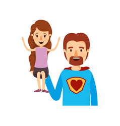 colorful caricature half body super dad hero with vector image vector image