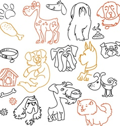 Doodle dogs set - pen on paper vector image vector image