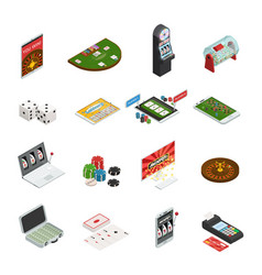 gambling colored isometric icons vector image vector image