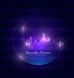 Glowing ramadan backgorund with moon and mosque vector