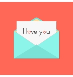 green open letter with i love you on white sheet vector image vector image