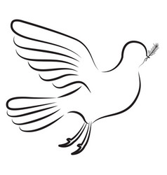 pigeon peace side view on silhouette vector image