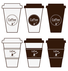 coffee paper cups set simply blank coffee to go vector image vector image