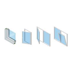 isometric cross section through a window pane pvc vector image