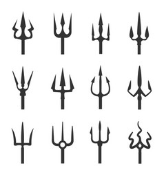 trident icon set vector image vector image