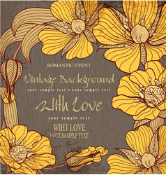 Vvintage background with drawing flowers vector