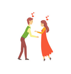 young couple in love boy and girl attracted to vector image
