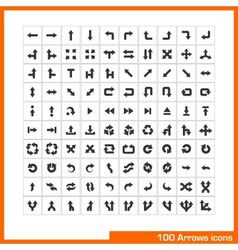 100 arrows icons set vector
