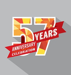 57th Years Anniversary Celebration Design vector image