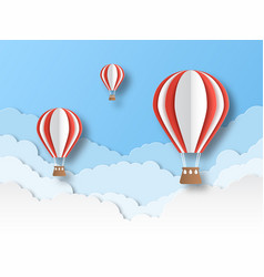 air balloon paper cut colourful flying balloons vector image