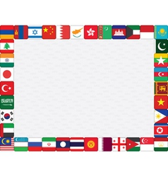 Asian countries flag icons frame vector
