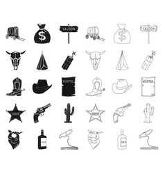 attributes of the wild west blackoutline icons in vector image