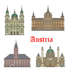 austrian travel landmarks architecture icon set vector image
