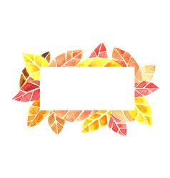 Autumn leaf watercolor on rectangle frame vector