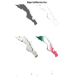 Baja california sur outline map set vector