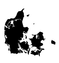 Black silhouette country borders map of denmark vector