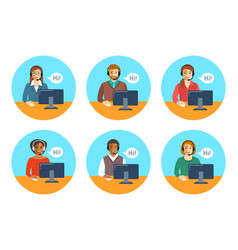 call center agents team at desks flat icons vector image