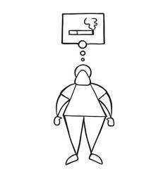 Cartoon man standing and thinking smoking vector
