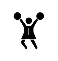 cheerleader black concept icon cheerleader vector image