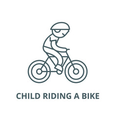 Child riding a bike line icon linear vector