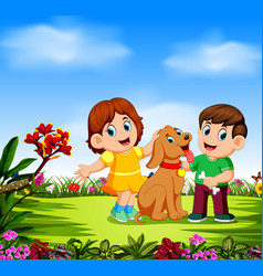 children are playing with their dog vector image