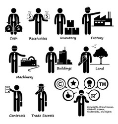 Company business assets pictogram human pictogram vector