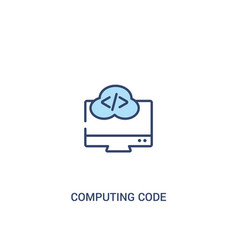 Computing code concept 2 colored icon simple line vector