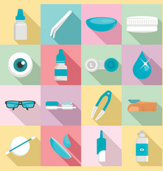 contact lens icon set flat style vector image