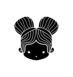 Contour girl head with two buns hair design vector