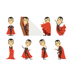 count dracula wearing red cape set cute vector image