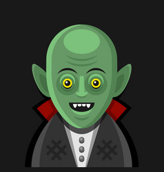 Cute cartoon green vampire on derk background vector