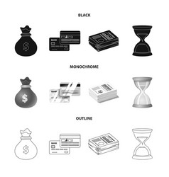 design of bank and money symbol collection vector image