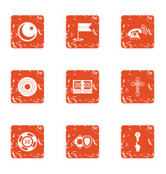 Desire icons set grunge style vector