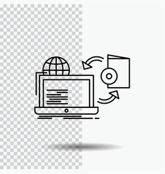 Disc online game publish publishing line icon on vector