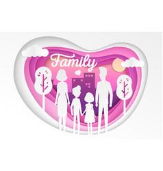 Family - modern paper cut vector
