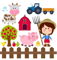 Farmer boy and animals vector