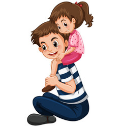 Father gives little girl piggy back ride vector