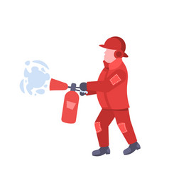 fireman holding extinguisher wearing red uniform vector image