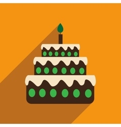 Flat icon with long shadow birthday cake vector