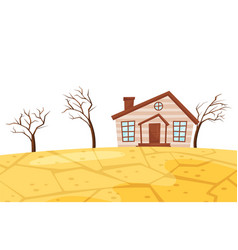 Flat scene of drought small living house vector