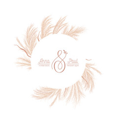 Floral wreath with watercolor dry pampas grass vector