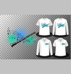 Flute with music notes logo with set different vector