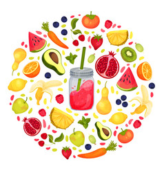 Fresh smoothie in jar and floating fruits arranged vector