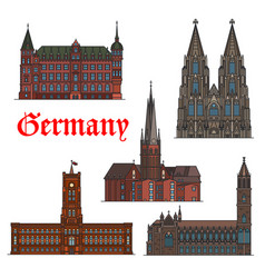 German architectural travel landmark icon set vector