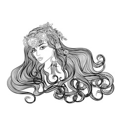 Girl with hairdress flowers vector