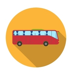 Green tour bus icon in flat style isolated on vector