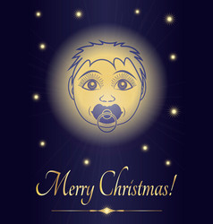 Greeting card merry christmas jesus baby face of vector