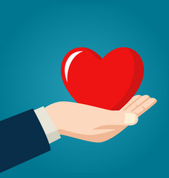 Hand holding heart symbol vector