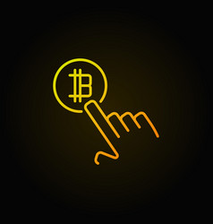 hand pointing bitcoin concept colorful vector image