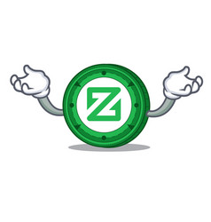 Hand up zcoin character cartoon style vector